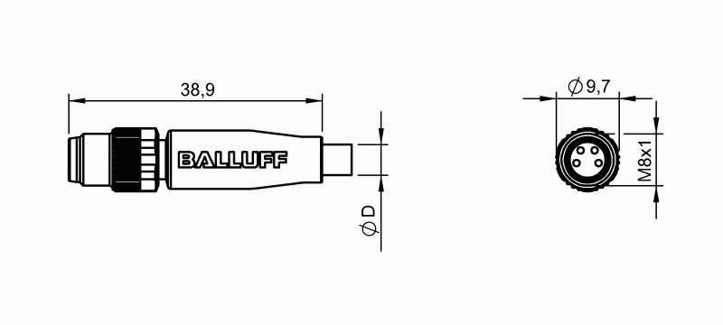 Balluff Connector BCC M314-0000-20-003-VX8434-050 on